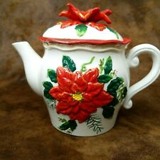 """BICO Fine China Holiday Teapot & Lid White Large Raised Red Poinsettias 7.5"""""""
