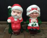 Vintage Mr. and Mrs. Clause S & P Shakers Made in Japan Sitting in Chairs Santa