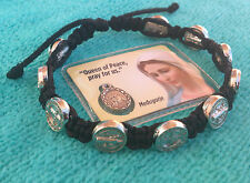 St. Saint Benedict Prayer Bracelet Black Bracelet From Medjugorje + Holy Card