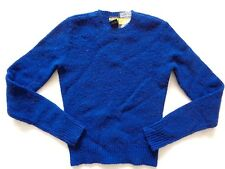New Ralph Lauren Rugby Women's 100% Wool Blue Fitted Crewneck Sweater slim XS