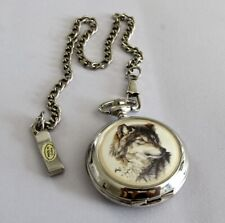 Vintage Westminster Wolf Quartz Pocket Watch with Chain new battery