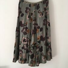 Per Una M&S Embellished Pleated Floral Linen Long Full Skirt UK 14 L Long Tall