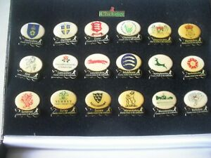Full Set of 18 County Cricket in the Millennium from The Cricketer Badges in Box