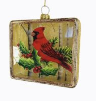 Kurt Adler Cardinal Glass Rectangle Ornament Christmas Gold Glitter  Box