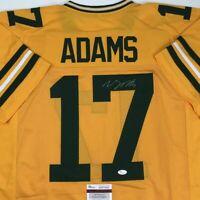 Autographed/Signed DAVANTE ADAMS Green Bay Yellow Football Jersey JSA COA Auto