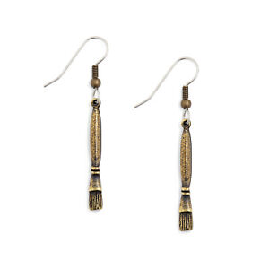 Paintbrush Earrings antique gold pewter charms USA-made paint brush new