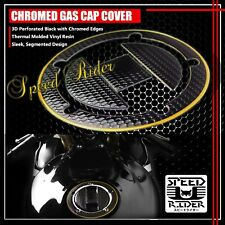 04-16 GSXR-600/750/1000 PERFORATE BLACK&CHROME GOLD GAS CAP FUEL LID COVER GUARD