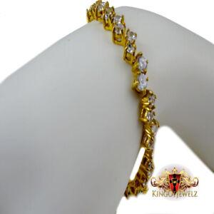 "Women's 14k Yellow Gold Finish Row Diamond Simulated Tennis choker Bracelet 7.5"""