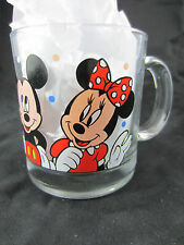 DISNEY large clear glass mug made in USA Mickey Minnie Donald Goofy