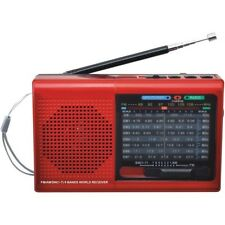 Supersonic 9-Band Rechargeable Bluetooth AM/FM/SW Radio (RED) with USB/SD MP3