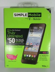 Simple Mobile TCL LX 4G LTE Prepaid Cell Phone Smart Phone, NEW!