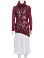 Helmut Lang Dark Pink & Maroon Open Knit Turtleneck Sweater, Size P