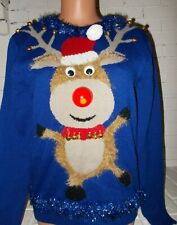 Ugly Christmas Sweater Dancing Fuzzy RUDOLPH Reindeer LIGHT UP NOSE Bells Small