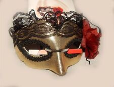 Masquerade Day of the Dead Mask Lace Black Gold Red Flower Mesh Trim Halloween