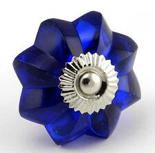 6 Glass Cabinet Knobs Cobalt Blue Kitchen Hardware Drawer Pull Handles #K64-2NDS