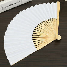 Blank White Chinese Folding Bamboo Fan Retro Hand Paper Fans Wedding Gift Decor