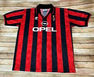 Vtg 1995 1996 AC MILAN Jersey #9 GEORGE WEAH Soccer Italy Red Black Lotto XL