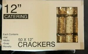 """56 x 12"""" Catering Christmas Crackers Cream & Gold Seasonal Family Party Fun Gift"""