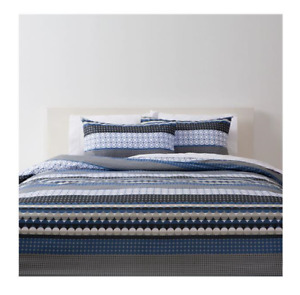 Circles Blue Grey Black & White 3pc Quilt / Doona Cover Set - Queen Bed