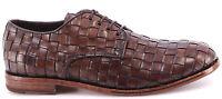 Chaussure Homme MOMA 13712-XB Canguro Intreccio Cuir Marron Vintage Handmade ITA