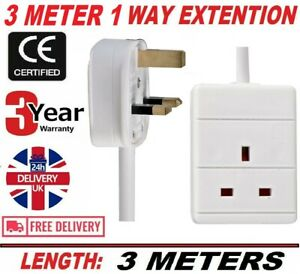 1 WAY 3M 13AMP EXTENSION LEAD + TOWER & SURGE PROTECTION FREE DELIVERY UK