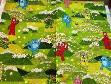 "Yo Gabba Gabba cotton quilt fabric by the half yard x 44""w, Hoffman green robot"