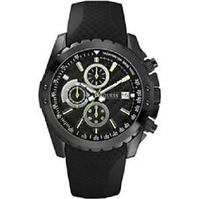 New Authentic Guess Lime Accent Chronograph Black Silicone Strap 46mm U15068G1