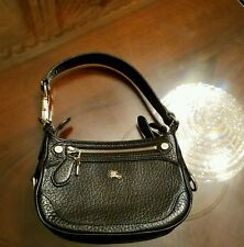 Authentic Burberry women's black pebbled leather handbag gold knight logo