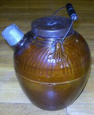 Antique Stoneware Batter Jug Pitcher Wood Handle