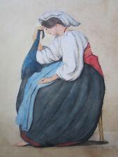Très belle aquarelle ancienne femme en costume méditerranée Italienne Sicilienne