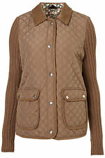 Topshop Khaki Knit Sleeve Quilted Jacket Coat Outerwear UK 6 EURO 34 US 2