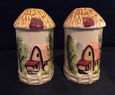Vintage Ceramic Thatched Roof Cottage Salt & Pepper Shakers Japan Marked  M R