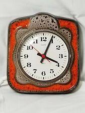 Fat LAVA West German Ceramic Wall Clock Europa Stunning Orange Brown Glaze C4