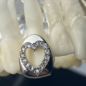 Heart Shaped Tooth Iced One Top Single Open Face Hollow Cap Bling Silver Tone
