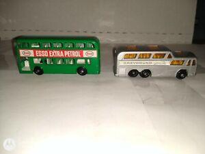 MATCHBOX-LESNEY-2 BUS LOT-66C(GREYHOUND BUS) 74B-DAIMLER BUS-OOB-