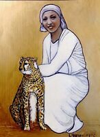 "JosephIne Baker & ""Chiquita""- Fine Art Print by Marianne L'Heureux - gold added"