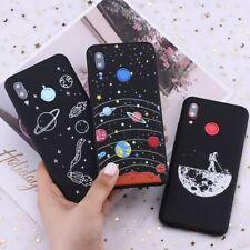 Lo Spazio Astronauta Luna Stelle Pianeti Universo SILICONE NERO case Cover per Huawei