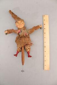 Antique Painted Wood & Paper Mache Folk Art Mechanical Dancing Rattle Puppet Toy
