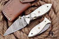 HUNTEX Custom Handmade Damascus 10cm Long Hunting Folding Pocket Needle Pt Knife