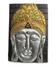 Panel 30 x 20 cm figura imagen de Buda en color dorado y plateado para colgar