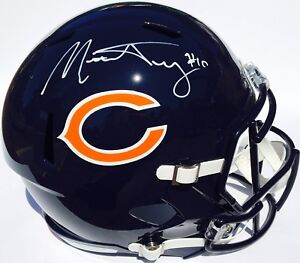 MITCHELL TRUBISKY #10 SIGNED CHICAGO BEARS REPLICA SPEED FOOTBALL HELMET w/JSA