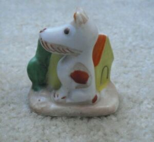 "Vintage Porcelain Dog by Doghouse Figurine 2 1/8"" Tall"