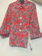 Foxcroft Women's Baked Red 3/4 Sleeved Blouse Wrinkle Free Size 10 Misses