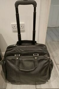 Jafferjee's High Quality Leather Wheeled Business Flight Laptop Case Briefcase
