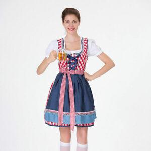 Women's Oktoberfest Red Grid Square Neckline Midi Dress Costume