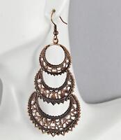 """Filigree chandelier earrings medallion disc earrings dangle 3.25 """" long copper"""