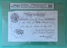 More details for operation bernhard wwii counterfeit 1935 white ten pound £10 note - about unc