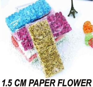 1.5cm MULBERRY PAPER OPEN ROSES/FLOWERS 144/288 With Wire Stems Wedding Party UK