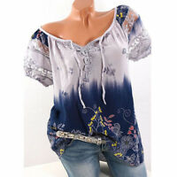 Womens Casual Summer Short Sleeve Gypsy Top Tee T-shirt Blouse Boho Plus Size