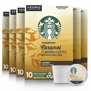 Starbucks Medium Roast K-Cup Coffee Pods — Caramel for Keurig Brewers — 6 boxes